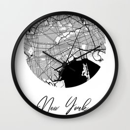 New York Area City Map, New York Circle City Maps Print, New York Black Water City Maps Wall Clock