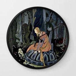 """The Black Tortoise"" by Virginia Frances Sterrett Wall Clock"