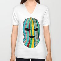 ski V-neck T-shirts featuring Ski Mask by Tribes Co.