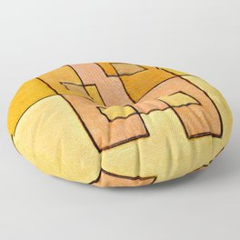 Protoglifo 04 'yellow hugging pink' Floor Pillow