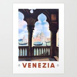 1938 ITALY Venice Venezia Travel Poster Art Print