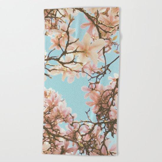 Pink Magnolia Beach Towel