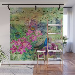 Elegant Peacock Image and Musical Notes Wall Mural