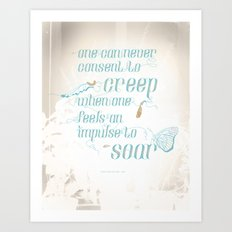 Soar - Illustrated quote of Helen Keller v3 Art Print