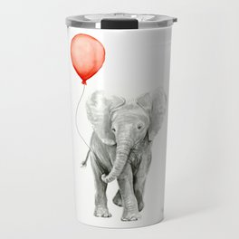 Baby Elephant Watercolor Red Balloon Nursery Decor Travel Mug