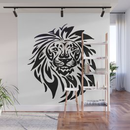 Lion face black and white Wall Mural