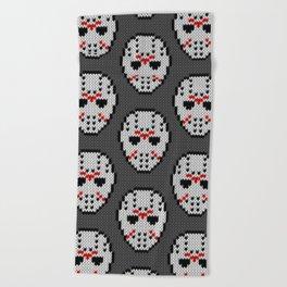 Knitted Jason hockey mask pattern Beach Towel
