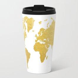 Gold World Map Travel Mug