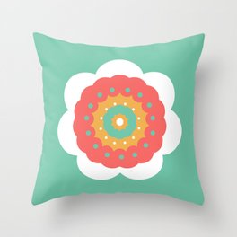 Minimal Abstract Lucite green, Coral, Grey, Honey, and White 13 Throw Pillow