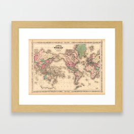 1861 World Map - Johnson's World on Mercators Projection Framed Art Print