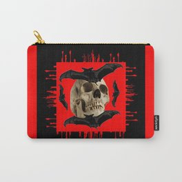 HALLOWEEN BAT INFESTED HAUNTED SKULL RED ART DESIGN Carry-All Pouch