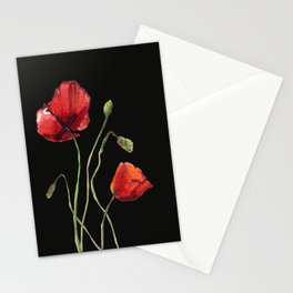 Poppies at Midnight Stationery Cards