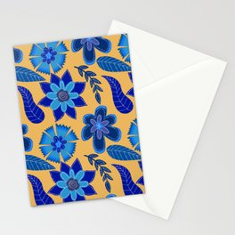 Bohemian Blues-Yellow  Stationery Cards