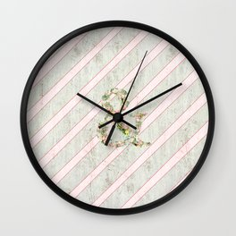 Romantic Floral Ampersand Pink Stripes Wood Wall Clock