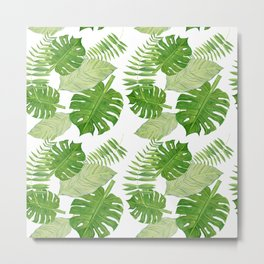 Tropical Leaves in Watercolor Metal Print