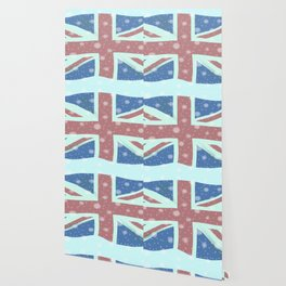 Union Jack Flag Snowflakes Wallpaper