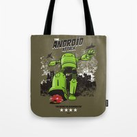 android Tote Bags featuring ANDROID ATTACK by Adams Pinto