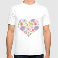 happy flowers SMALL White Mens Fitted Tee