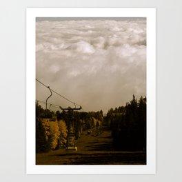 Ski Lift Into the Clouds Art Print