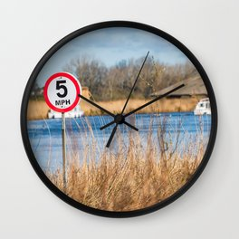 Speed control on the River Thurne, Norfolk Broads Wall Clock