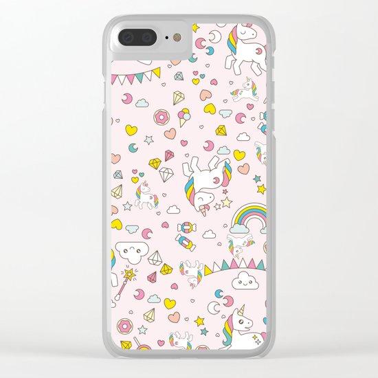 Unicorn Pattern Clear iPhone Case