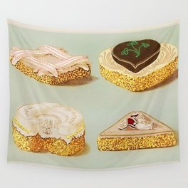 Decorated French Cakes Gateaux, Pastry, petit fours - T. Percy Lewis & A. G. Bromley Poster Wall Tapestry