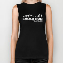 Funny Evolution Triathlon Triathlete Caveman  Biker Tank