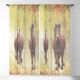 Horses in Autumn Sheer Curtain