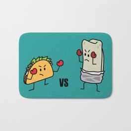 Taco Vs Burrito Boxing Fighters Mexican beef carne tortilla Bath Mat