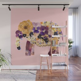 Floral Elephant - pink Wall Mural