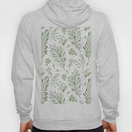 Hand painted forest green white watercolor leaves floral Hoody