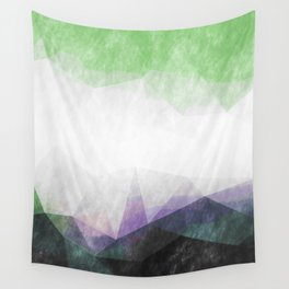 On the mountains - green watercolor - triangle pattern Wall Tapestry