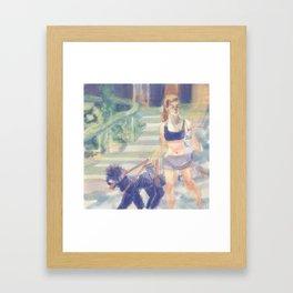 danielle campbell walking her dogs Framed Art Print