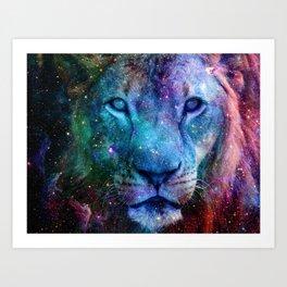 Galaxy Lion Colorful Face Art Print