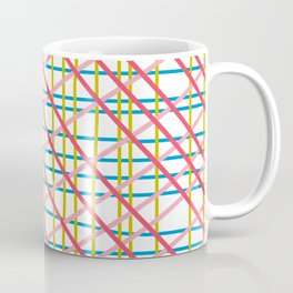 Texture lines pink blue mustard red Coffee Mug