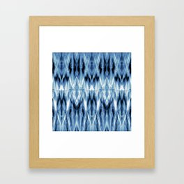 Blue Satin Shibori Argyle Framed Art Print