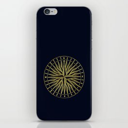 The golden compass- maritime print with gold ornament iPhone Skin