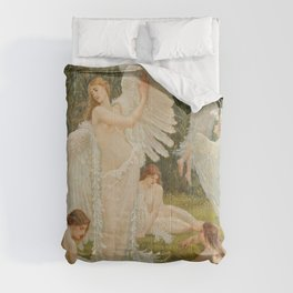 Swans and the Maidens angelic garden landscape painting by Walter Crane  Comforters