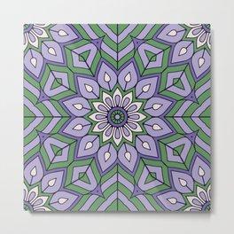 Lavender Green Mandala Flower Metal Print