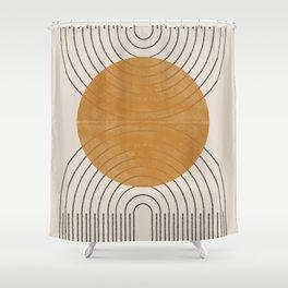 Minimal Line, Arch, Gold Sun Shower Curtain