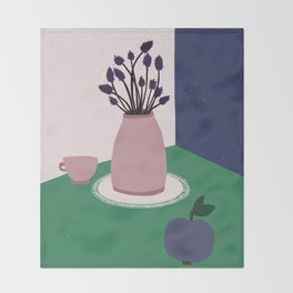 Still Life with Apple, Lavender Flowers and Cup Throw Blanket