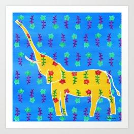 Elephant - yellow Art Print