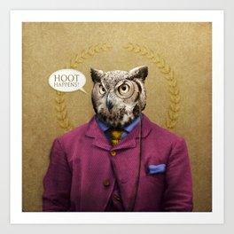 "Mr. Owl says: ""HOOT Happens!"" Art Print"