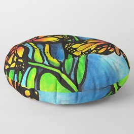 Beautiful Monarch Butterflies Fluttering Over Palm Fronds by annmariescreations Floor Pillow
