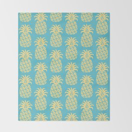 Mid Century Modern Pineapple Pattern Blue and Yellow Throw Blanket