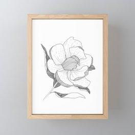 black and white linear flower Framed Mini Art Print