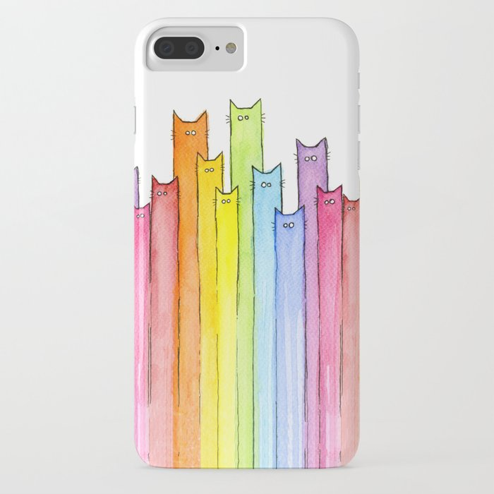 cat rainbow watercolor pattern iphone case