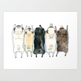 The Pug Spectrum - Pug butts in a row Art Print