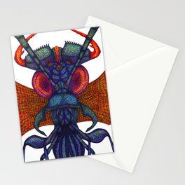 A fibre (felt-tip) pens illustration (pointillism) of an insect alien. Stationery Cards