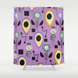 Mid-century flowers with avocados Shower Curtain